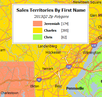Sales territory by first name map